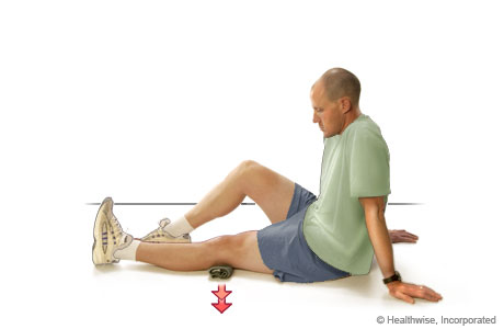 Picture of an isometric exercise for the quadriceps