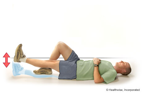 Picture of straight leg raise exercise for the quadriceps (lying on the back)