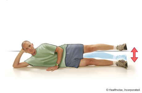 Picture of side leg lift exercise (lying on the side)
