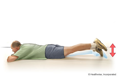 Picture of gluteal lift exercise (lying on the belly)