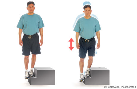 Picture of one-leg quadriceps exercise using a step