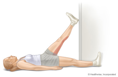 Picture of hamstring stretch (lying down, using a doorway)