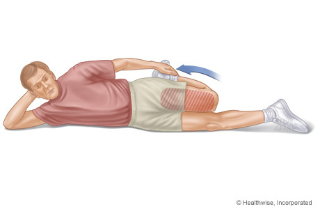 Picture of quadriceps stretch (lying on side)