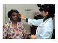 Photo of an indirect ophthalmoscopic examination